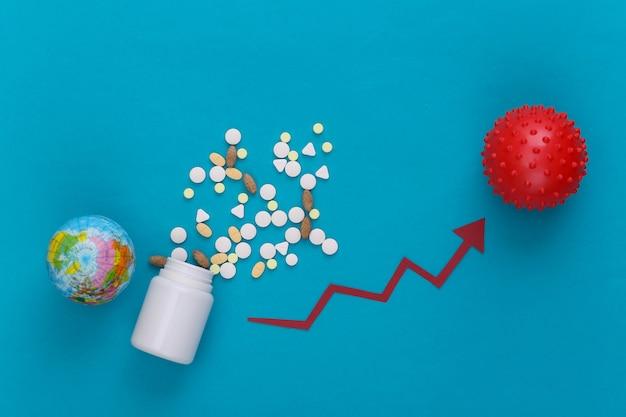Pillole, globo e modello di ceppo virale con freccia di crescita che tende verso l'alto sul blu.