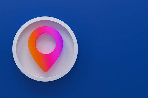 Icona pin minimal logo rendering 3d
