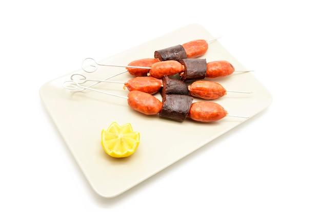 Pincho di salsiccia e sanguinaccio (chorizo y morcilla)