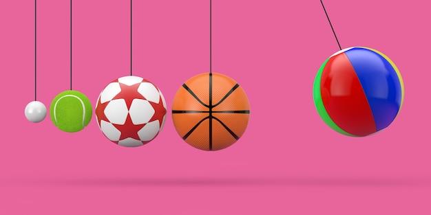 Palloni da ping pong, tennis, calcio, basket e spiaggia appesi alle corde come culla di newton su uno sfondo rosa. rendering 3d