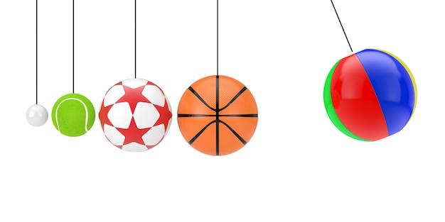 Palloni da ping pong, tennis, calcio, basket e spiaggia appesi a corde come culla di newton su sfondo bianco. rendering 3d