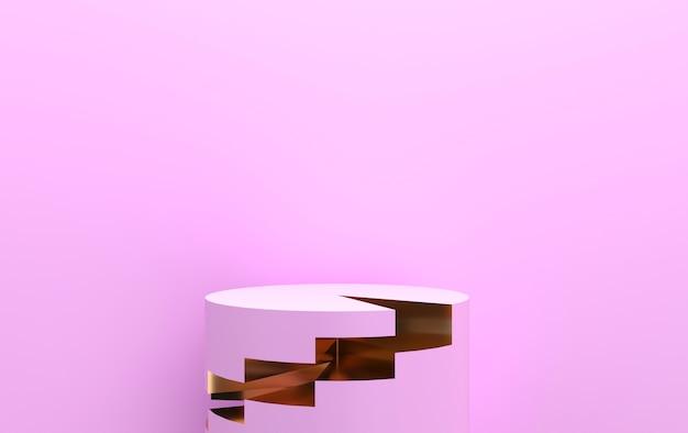Sfondo rosa, piedistallo cilindro, gruppo di forme geometriche astratte, rendering 3d, scena con forme geometriche