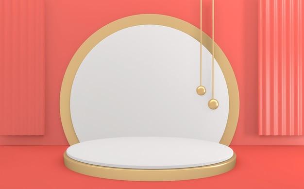 Sfondo rosa e stile dorato, podio minimal geometrico. rendering 3d