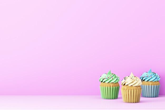 Sfondo rosa con cupcakes