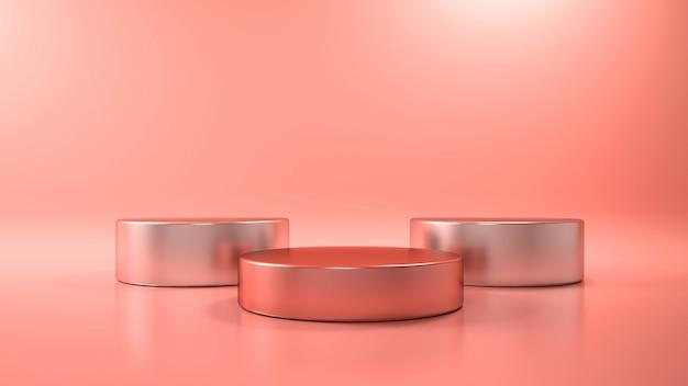 Sfondo rosa con podio di forma geometrica