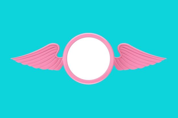 Badge rosa con ali e spazio libero per il tuo design su sfondo blu. rendering 3d