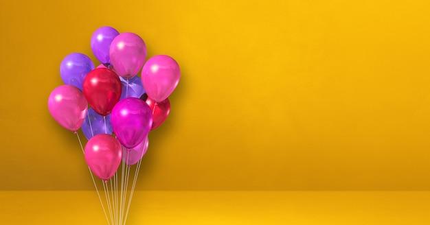 Mazzo di palloncini rosa su uno sfondo di muro giallo. banner orizzontale. rendering di illustrazione 3d