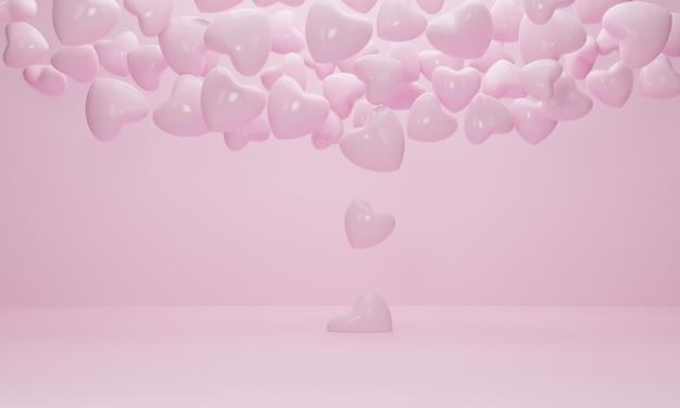 Cuore di palloncini rosa che volano fuori dal pavimento nella stanza interna rosa