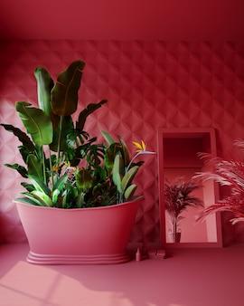 Bagno rosa con fiori tropicali