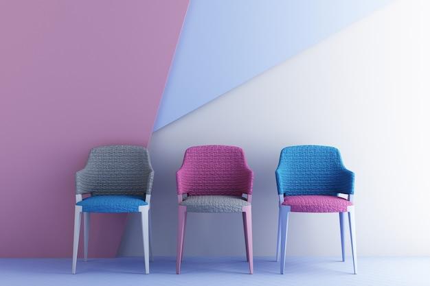 Sedie di colore rosa e blu, divano, poltrona in uno sfondo vuoto. circondati da forme geometriche concetto di minimalismo e installazione artistica. rendering 3d mock up