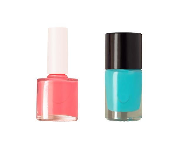 Smalti rosa e blu isolati su sfondo bianco