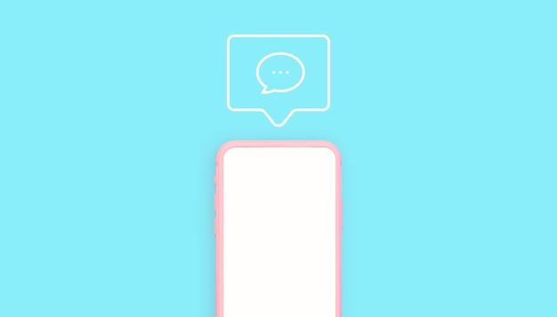 Rendering 3d di telefono rosa e blu con illustrazione icona commenti