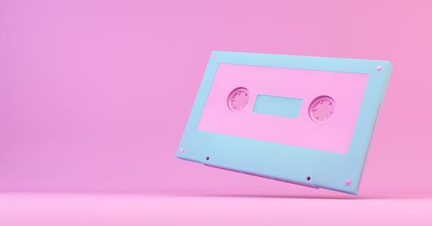 Rendering 3d cassetta retrò rosa e blu