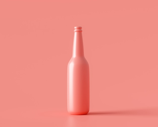 Bottiglia rosa di bevanda in vetro su sfondo di colore pastello 3d rendering