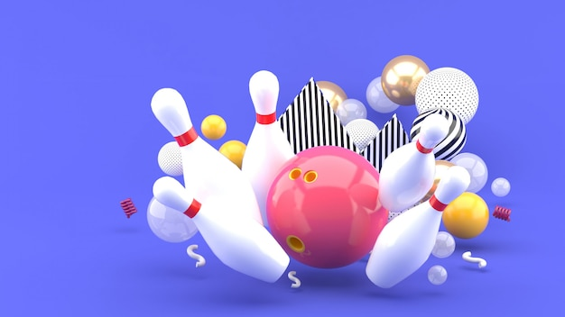 Bowling rosa tra le palline colorate sul viola. rendering 3d.