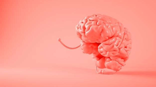 Rendering 3d di consapevolezza del cervello rosa