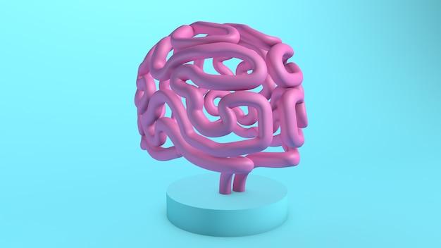 Cervello rosa su un supporto 3d render