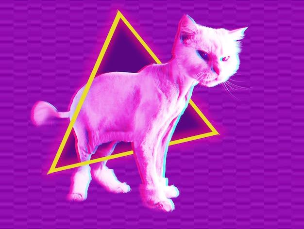 Gatto rosa. retro wave synth vaporwave ritratto di un gatto divertente. collage di arte contemporanea. concetto di poster in stile memphis. minimalismo astratto con effetto glitch.