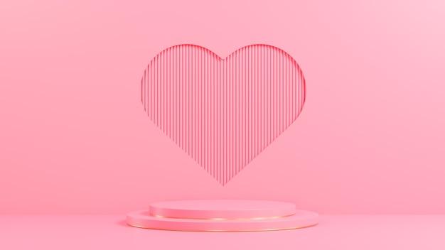 Podio rosa del cerchio per la presentazione del prodotto sullo stile minimal del fondo del foro di forma del cuore del muro di assicella rosa, modello 3d e illustrazione.