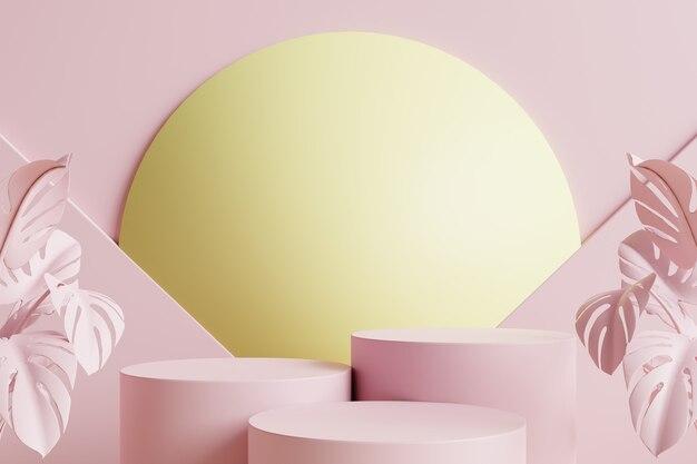Podi a cerchio rosa con foglie rosa sul lato e sfera gialla