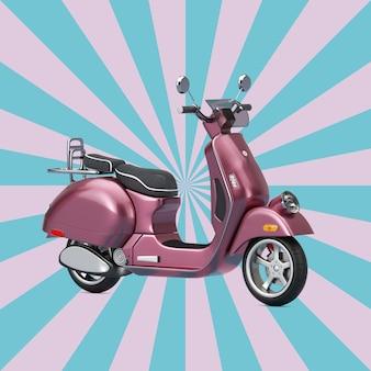 Rosa classico vintage retrò o scooter elettrico su uno sfondo rosa e blu a forma di stella vintage. rendering 3d