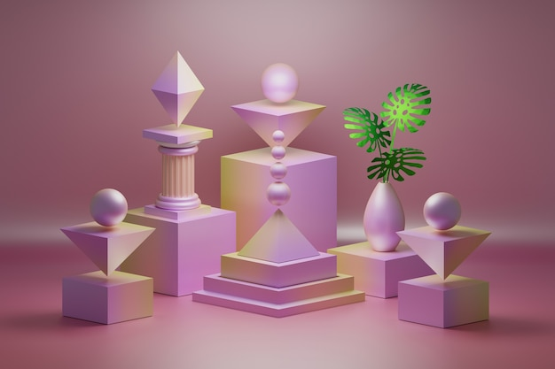 Composizione rosa con forme di oggetti decorativi geometrici a basso poli e vaso con foglie di monstera verde.