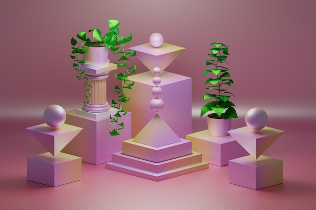 Composizione rosa con forme di oggetti geometrici low poly e piante verdi in vaso con foglie