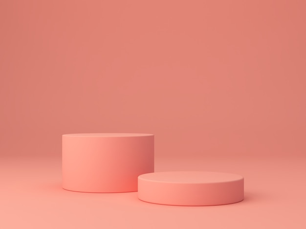 Forme di corallo rosa su sfondo astratto corallo, cilindro minimale e podio geometrico