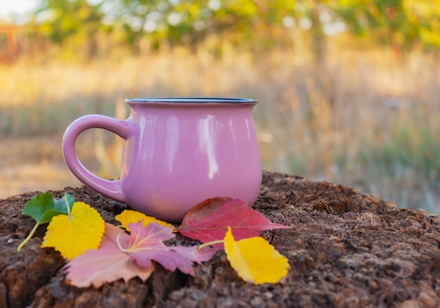 Tazza rosa con un drink e foglie d'autunno su un vecchio tavolo di legno in giardino