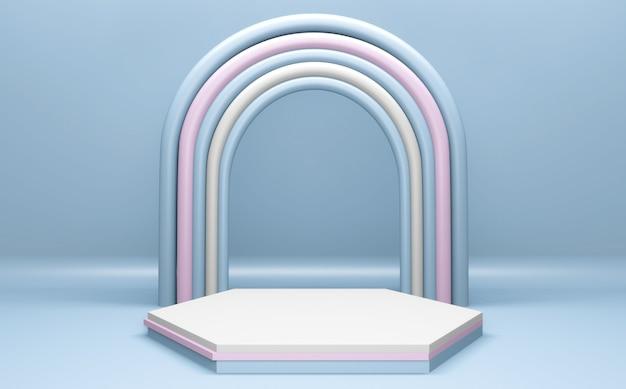 Astratto rosa e ciano sul podio geometrico. rendering 3d