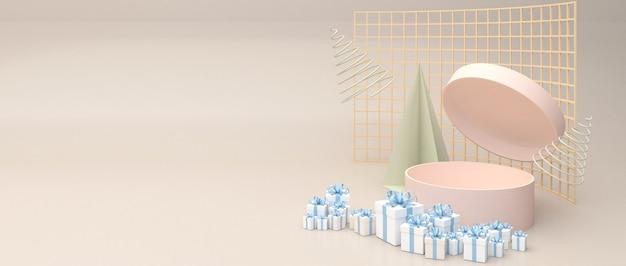 Scatola cilindrica rosa, apri il coperchio della scatola. circondato da molte scatole regalo blu. adagiato su uno sfondo color crema.