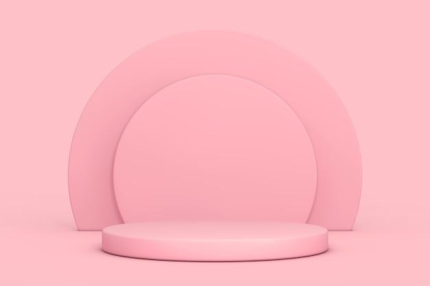 Rosa cilindri prodotti piedistallo per palco su sfondo rosa. rendering 3d