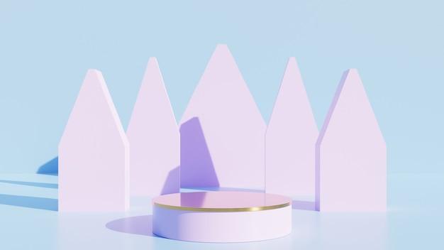 Display rosa o podio per il prodotto dello spettacolo e la stanza blu vuota.