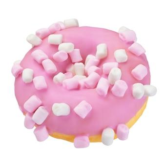 Ciambella rosa con granelli di marshmallow isolati