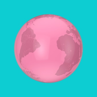 Globo terrestre rosa in stile bicolore su sfondo blu. rendering 3d