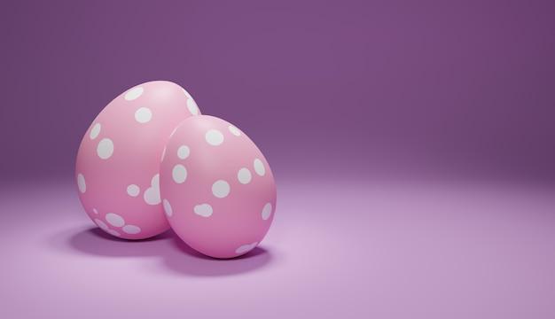 Uova rosa in un punto bianco su un tavolo lilla, rendering 3d