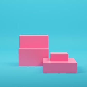 Espositore per prodotti vuoto rosa su sfondo blu brillante in colori pastello. concetto di minimalismo. rendering 3d