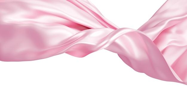 Tessuto rosa che vola nel vento isolato su sfondo bianco 3d render