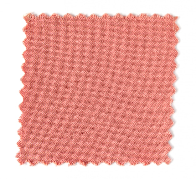 Campioni di campioni di tessuto rosa isolati su sfondo bianco