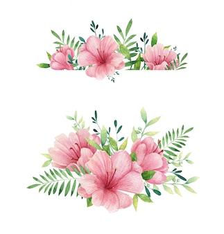 Composizione di fiori rosa bouquet verde bellissimo dipinto ad acquerello disegnato a mano