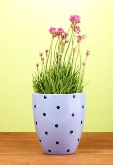 Fiori rosa in vaso sul tavolo di legno su sfondo verde