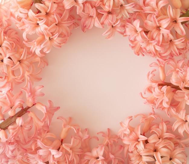 Fiori rosa su sfondo bianco con un cerchio al centro come spazio di copia. concetto di primavera.