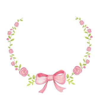 Cornice rosa con rose e nastro