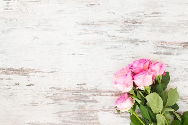 Fiori rosa rose fresche in gocce d'acqua su bianco