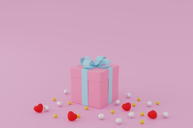 Confezione regalo rosa o presente scatola su sfondo rosa, concetto di san valentino. 3d rendering.