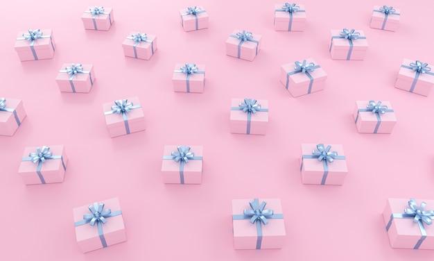Modello di regali rosa con nastro blu su sfondo isometrico. illustrazione 3d.
