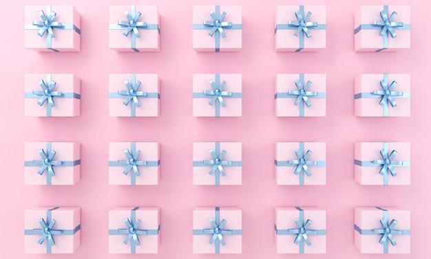 Modello di regali rosa con nastro blu su sfondo vista dall'alto. illustrazione 3d.