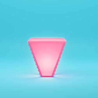 Prodotto incandescente rosa su sfondo blu brillante in colori pastello. concetto di minimalismo. rendering 3d