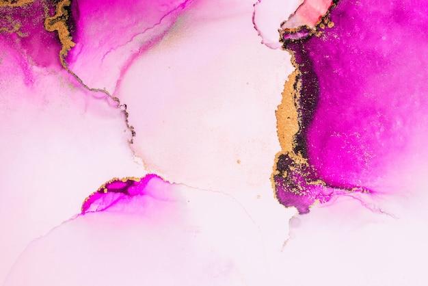 Fondo astratto dell'oro rosa della pittura di arte dell'inchiostro liquido di marmo su carta.