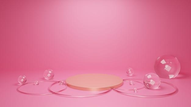 Concetto di geometria minima astratta rosa e oro. rendering 3d